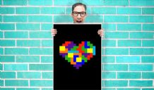 Tetris retro Heart Art Pint - Wall Art Print Poster   - Geekery